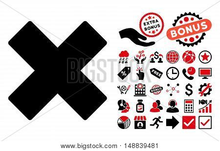 Delete X-Cross icon with bonus icon set. Vector illustration style is flat iconic bicolor symbols, intensive red and black colors, white background.