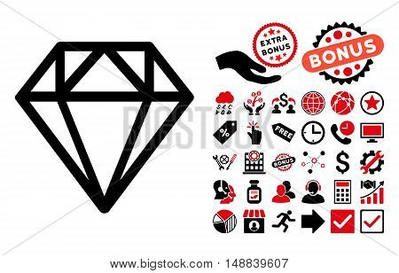 Diamond pictograph with bonus elements. Vector illustration style is flat iconic bicolor symbols, intensive red and black colors, white background.