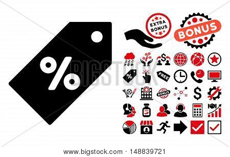 Discount Tag pictograph with bonus pictogram. Vector illustration style is flat iconic bicolor symbols intensive red and black colors white background.
