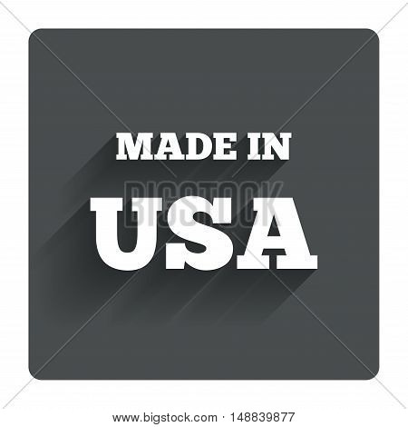 Made in the USA icon. Export production symbol. Product created in America sign. Gray flat square button with shadow. Modern UI website navigation. Vector