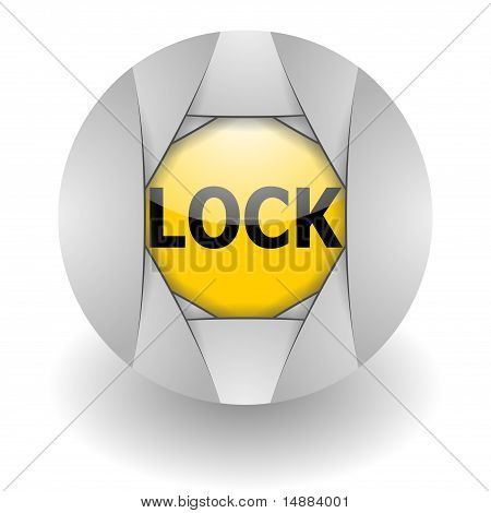 lock steel glosssy icon