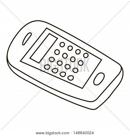 Mobile phone icon in outline style isolated on white background. Communication symbol vector illustration