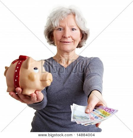 Old Woman Offering Banknotes