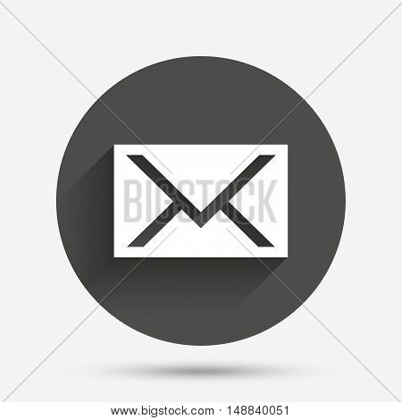 Mail icon. Envelope symbol. Message sign. Mail navigation button. Circle flat button with shadow. Vector