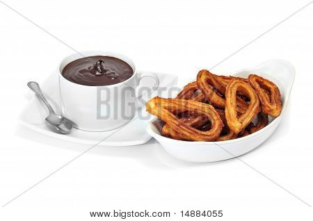 Churros Con Chocolate, A Typical Spanish Sweet Snack