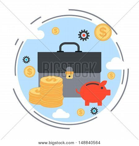 Business portfolio, financial investment, wealth accumulation, bank funds, financial savings flat design style vector concept