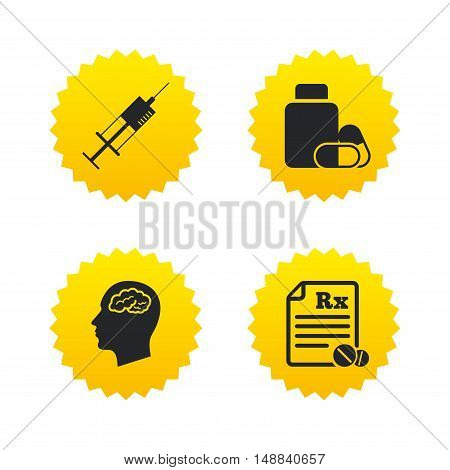 Medicine icons. Medical tablets bottle, head with brain, prescription Rx and syringe signs. Pharmacy or medicine symbol. Yellow stars labels with flat icons. Vector