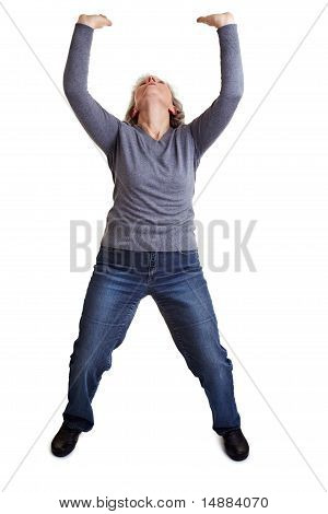 Old Woman Lifting Imaginary Object