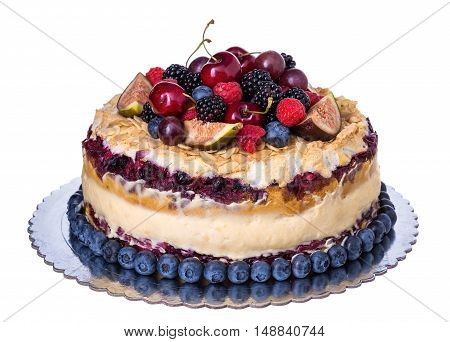 Wedding rustic fruit cake . On a white background.