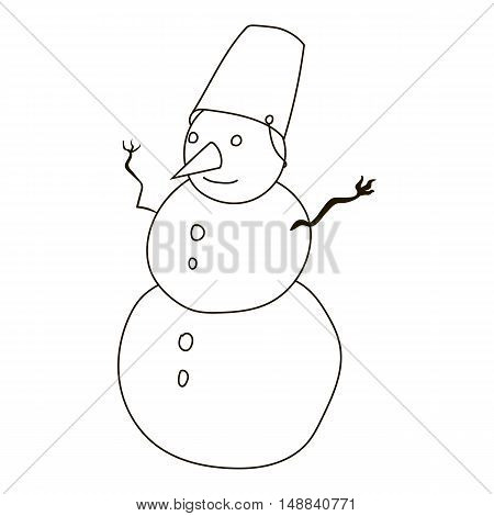 Snowman icon in outline style isolated on white background. New year symbol vector illustration