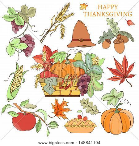 Set of Thanksgiving autumn elements can be used for can be used for holiday cards, invitation, postcard or website. Holiday design of pumpkin, apple, pie, corn, hat, grapes, acorn and autumn leaves