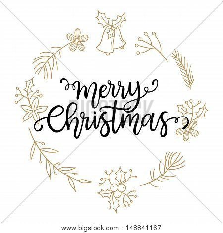 Merry Christmas phrase. vector greeting card with hand written calligraphic phrase
