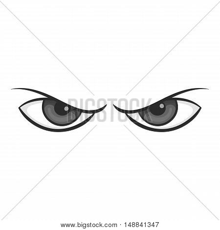 Gloomy eyes icon in black monochrome style isolated on white background. Look symbol vector illustration