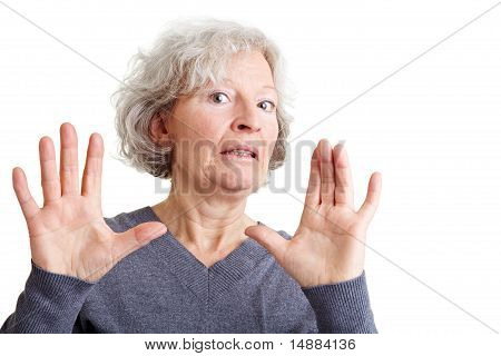 Offended Elderly Woman Rejecting Offer