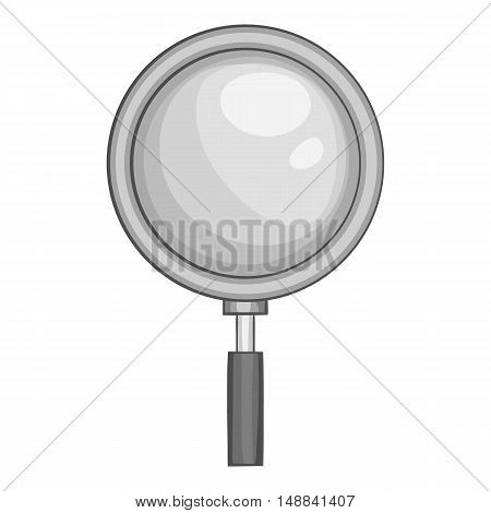 Magnifier icon in black monochrome style isolated on white background. Zoom symbol vector illustration