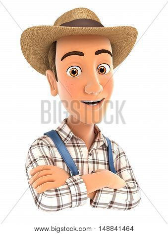 3d farmer with arms crossed illustration with isolated white background