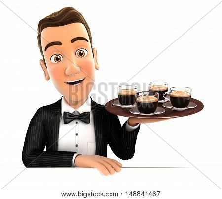 3d waiter holding four cups of coffee illustration with isolated white background