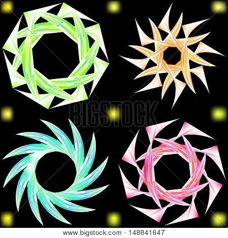 Abstract ornament in the form of Japanese stars. Flowers in soft pastel colors.