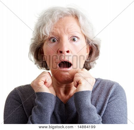 Frightened Elderly Woman Shocked
