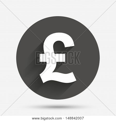 Pound sign icon. GBP currency symbol. Money label. Circle flat button with shadow. Vector