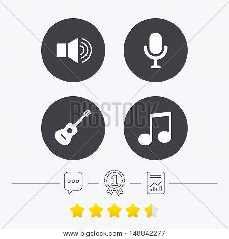 Musical elements icons. Microphone and Sound speaker symbols. Music note and acoustic guitar signs. Chat, award medal and report linear icons. Star vote ranking. Vector