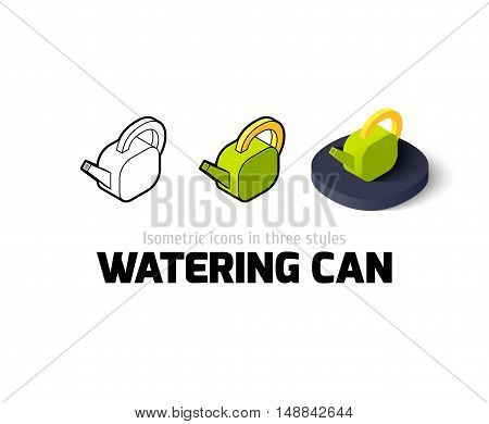 Watering can icon, vector symbol in flat, outline and isometric style