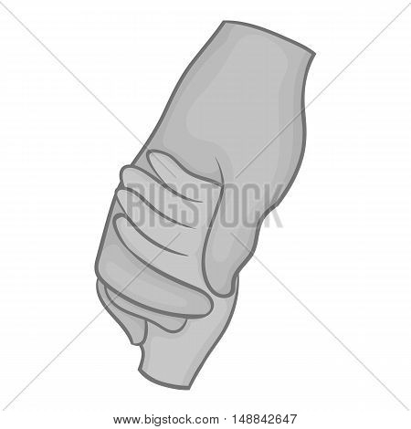 Hand holding baby hand icon in black monochrome style isolated on white background. Help symbol vector illustration