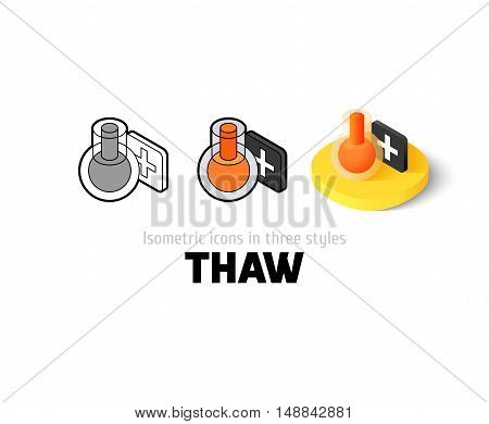 Thaw icon, vector symbol in flat, outline and isometric style