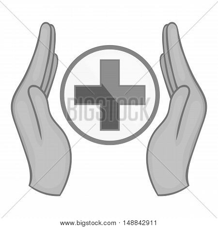 Medical care icon in black monochrome style isolated on white background. Charity symbol vector illustration