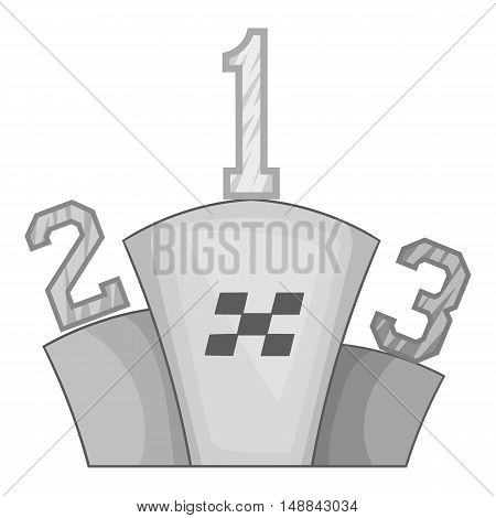 Prize pedestal icon in black monochrome style isolated on white background. Rewarding symbol vector illustration
