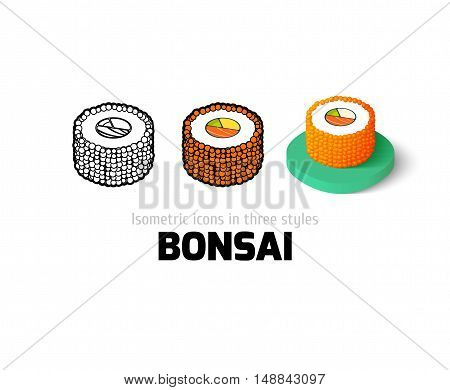 Bonsai icon, vector symbol in flat, outline and isometric style