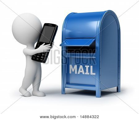 3D Small People - Mailing A Phone