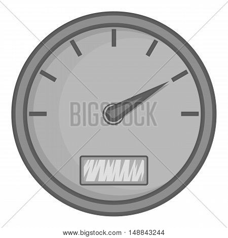 Speedometer icon in black monochrome style isolated on white background. Indication symbol vector illustration