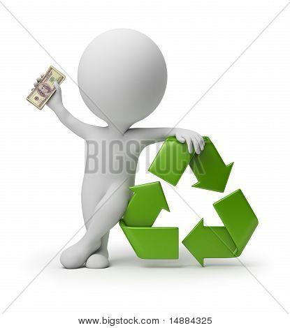 Pessoas pequenas 3D - pagamento para reciclagem