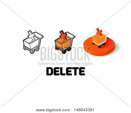 Delete icon, vector symbol in flat, outline and isometric style