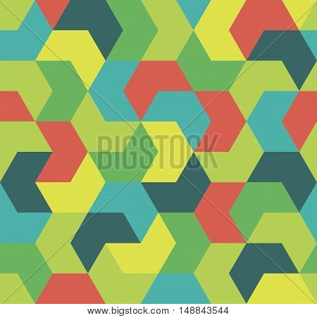 Colorful arrow seamless pattern. Geometrical infinity tiled cover. Endless background with red, green, blue, yellow geometric shapes. Wallpaper, wrapping paper. Vector illustration.