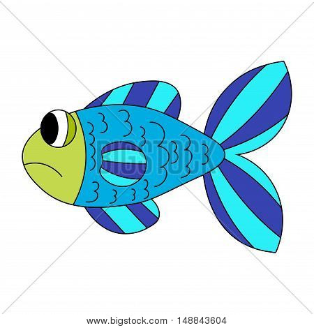 Blue and green cartoon sad fish isolated on white. Vector illustration.