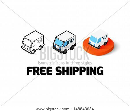 Free shipping icon, vector symbol in flat, outline and isometric style