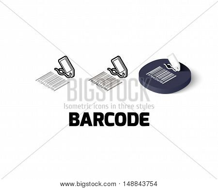 Barcode icon, vector symbol in flat, outline and isometric style