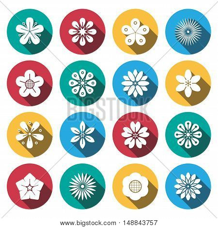 flat shadow flower icons set . vector
