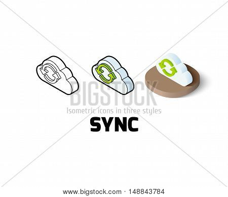 Sync icon, vector symbol in flat, outline and isometric style