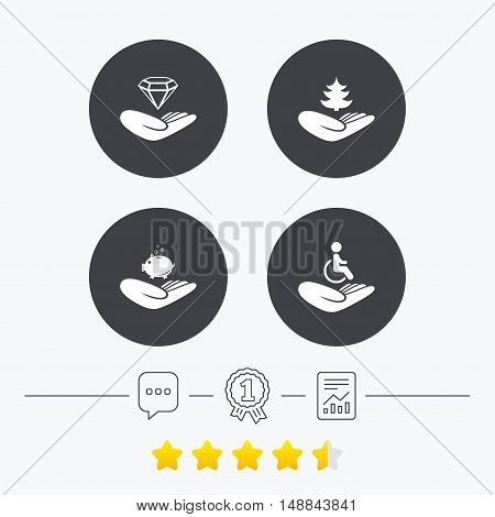 Helping hands icons. Protection and insurance symbols. Financial money savings, save forest. Diamond brilliant sign. Disabled human. Chat, award medal and report linear icons. Star vote ranking. Vector