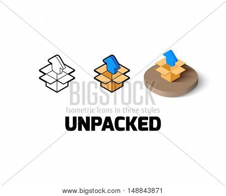 Unpacked icon, vector symbol in flat, outline and isometric style