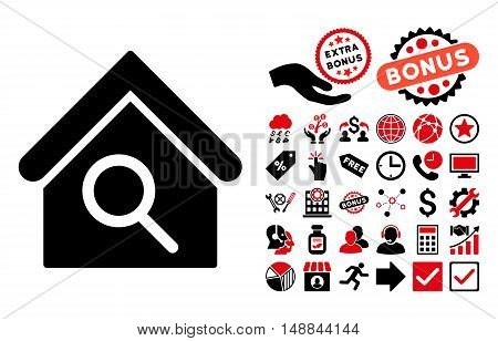 Find Building pictograph with bonus clip art. Vector illustration style is flat iconic bicolor symbols intensive red and black colors white background.
