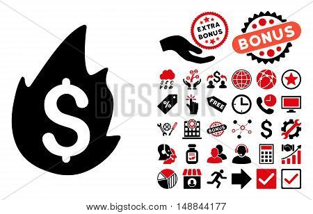 Fire Disaster pictograph with bonus pictures. Vector illustration style is flat iconic bicolor symbols intensive red and black colors white background.