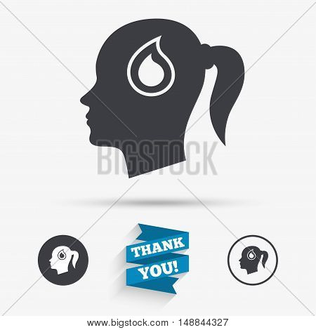 Head with blood drop sign icon. Female woman human head symbol. Flat icons. Buttons with icons. Thank you ribbon. Vector