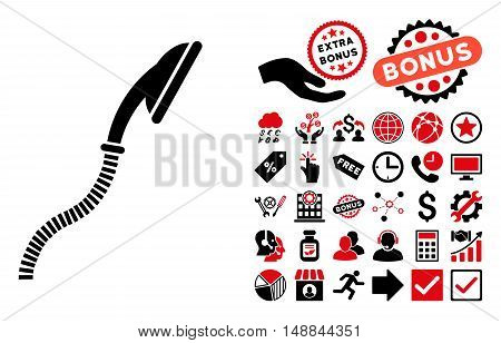 Flexible Shower icon with bonus pictogram. Vector illustration style is flat iconic bicolor symbols intensive red and black colors white background.