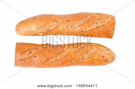 Baguette diet whole grain baguette two half halves isolated on white