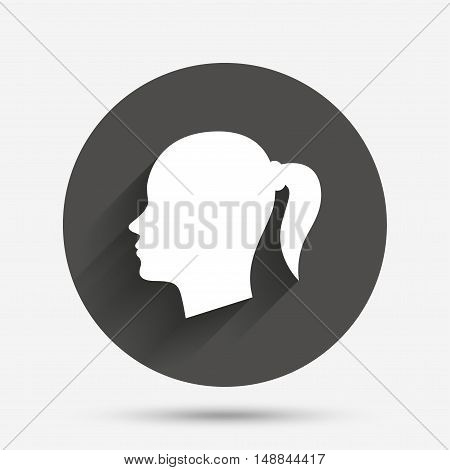 Head sign icon. Female woman human head with pigtail symbol. Circle flat button with shadow. Vector