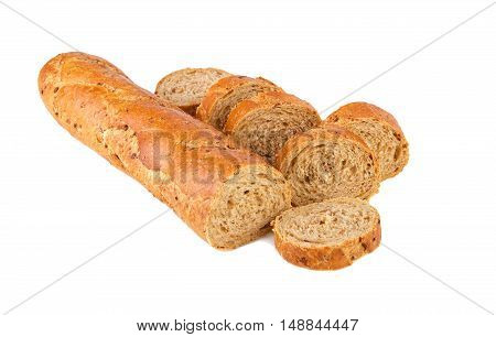 Baguette healthy food whole grain baguette half and pieces on white